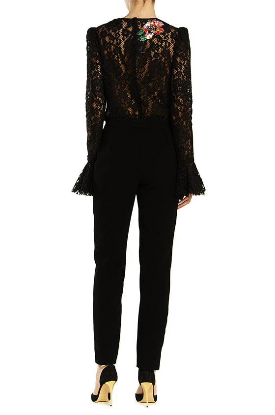Embroidered Lace Blouse - moniquelhuillier