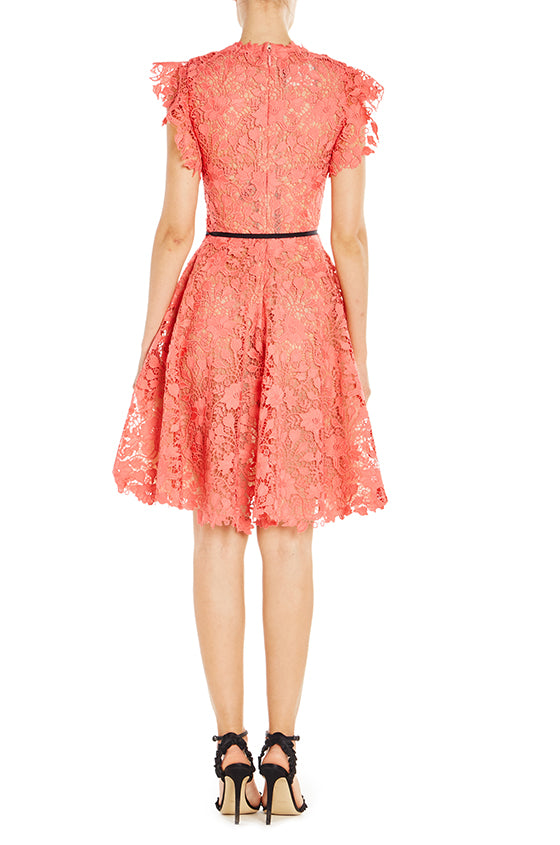 Guipure Lace Dress With Ruffle Sleeves - moniquelhuillier