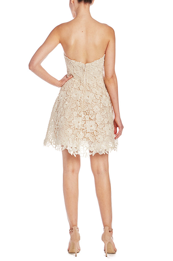 Monique Lhuillier Gold Lace Cocktail Dress