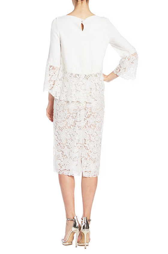 White Crepe Blouse Monique Lhuillier