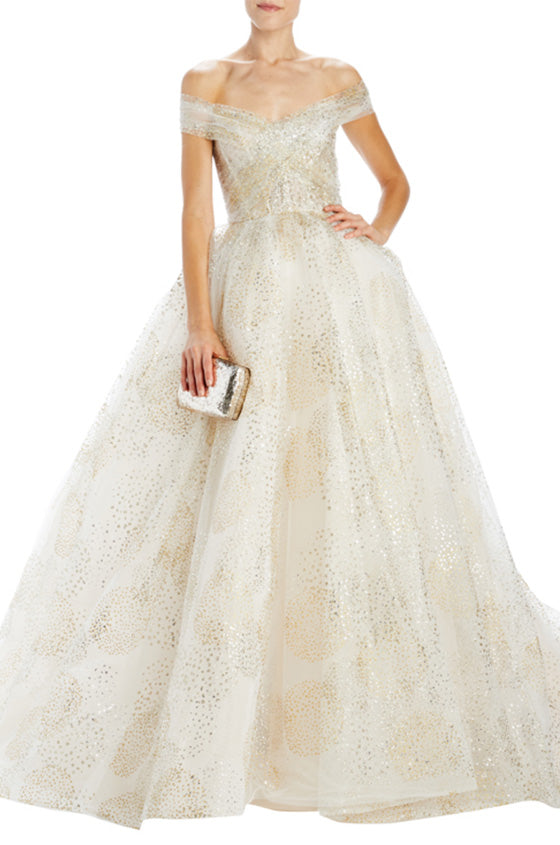 off the shoulder ball gown with gathered bodice