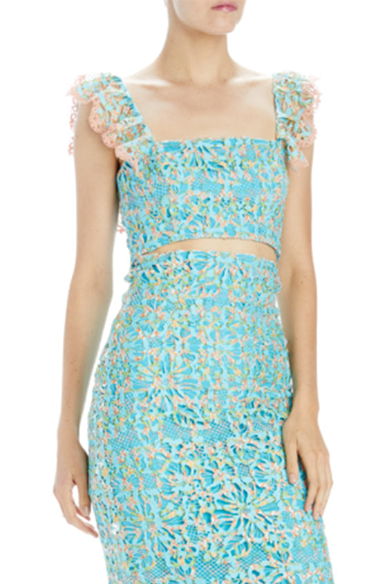 aqua printed bandeau top with straps