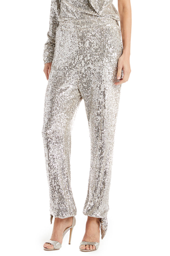 Silver sequin trouser with ankle ties