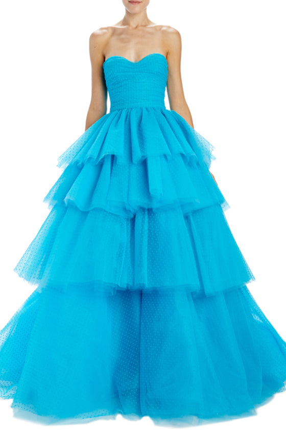 Strapless tulle evening gown blue