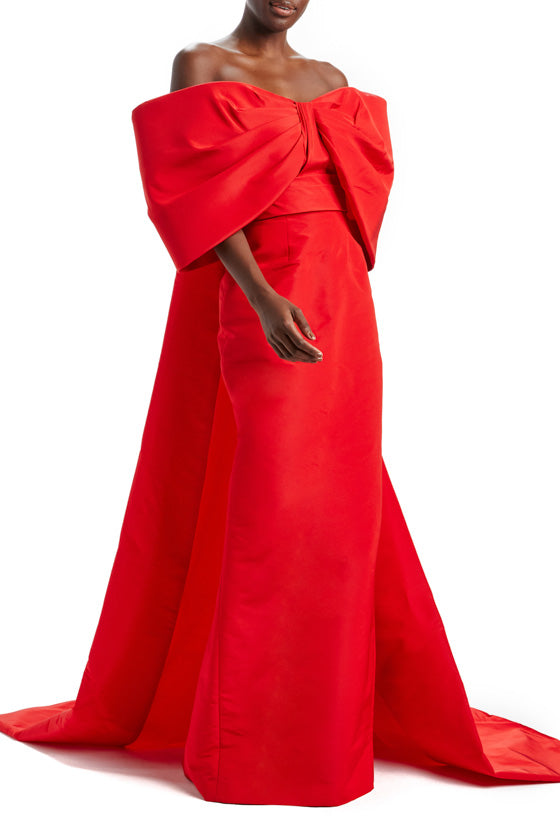 Off The Shoulder Red Column Gown