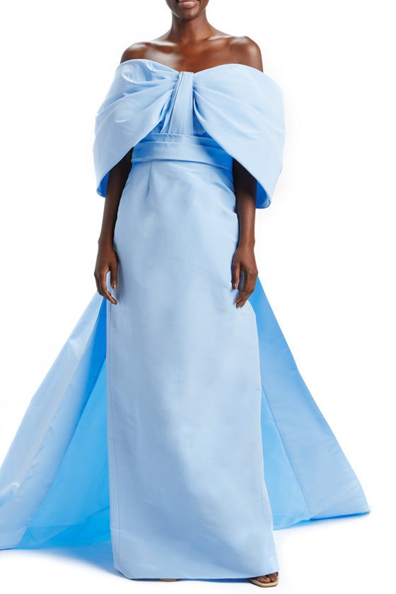 Off-the-Shoulder Sky Blue Gown