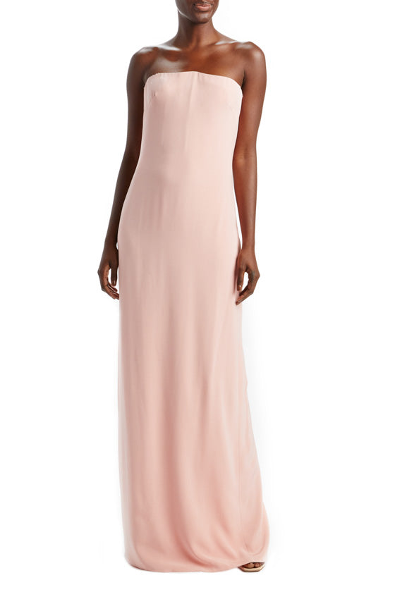 Blush Strapless Column Gown
