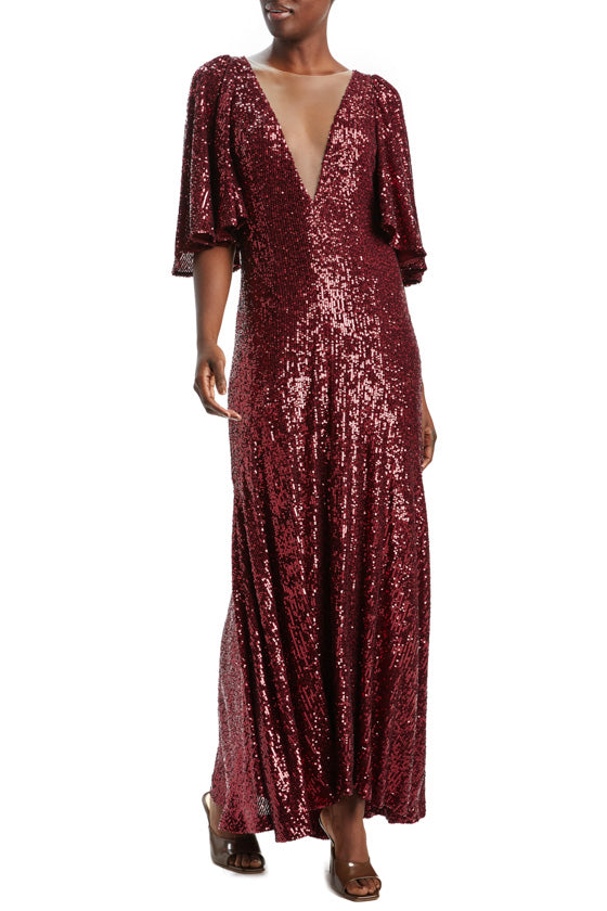 Merlot Sequined V-Neck Ankle Dress