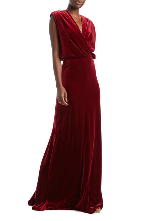 Velour Draped Bodice Gown