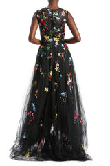 Embroidered Tulle Evening Gown