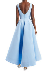 Sky Blue V-Neck Midi Dress
