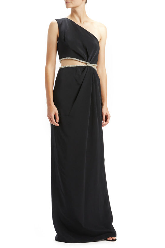 One Shoulder Embellished Waist Gown
