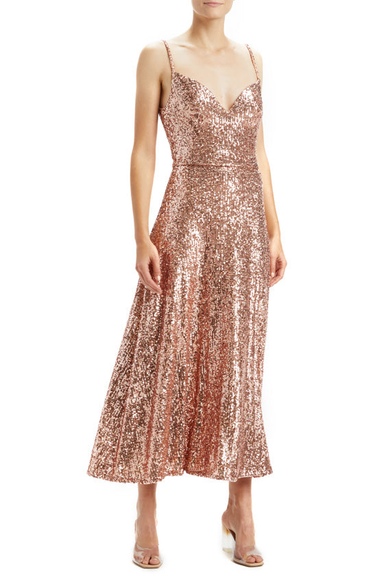 Rose Gold Sequin A-line Midi Dress