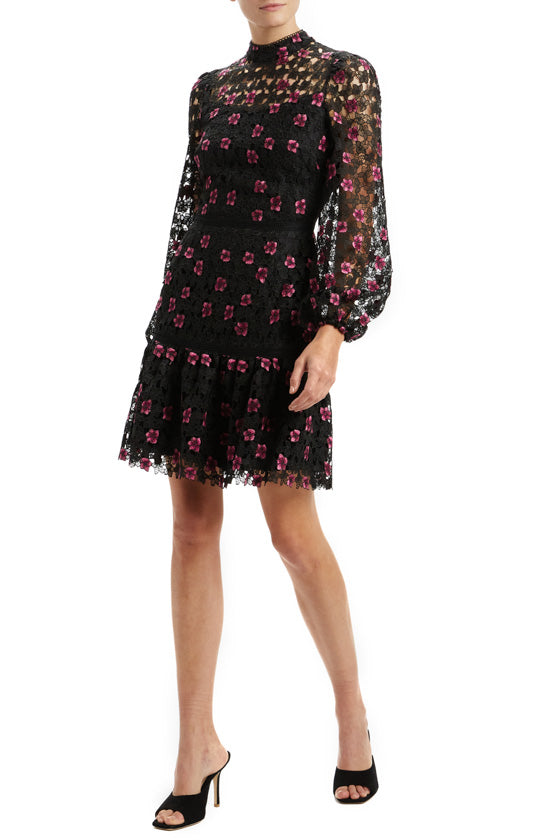 Floral Lace Dress with Bell Sleeves
