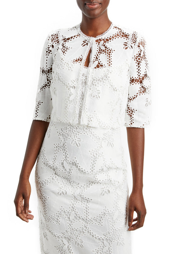 Guipure Lace Cropped Jacket