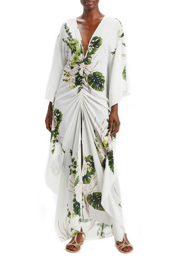 Bouquet Printed Gathered Caftan Dress