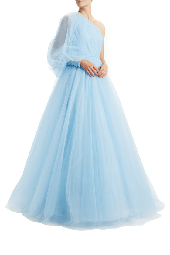 One Shoulder Bishop Sleeve Ball Gown