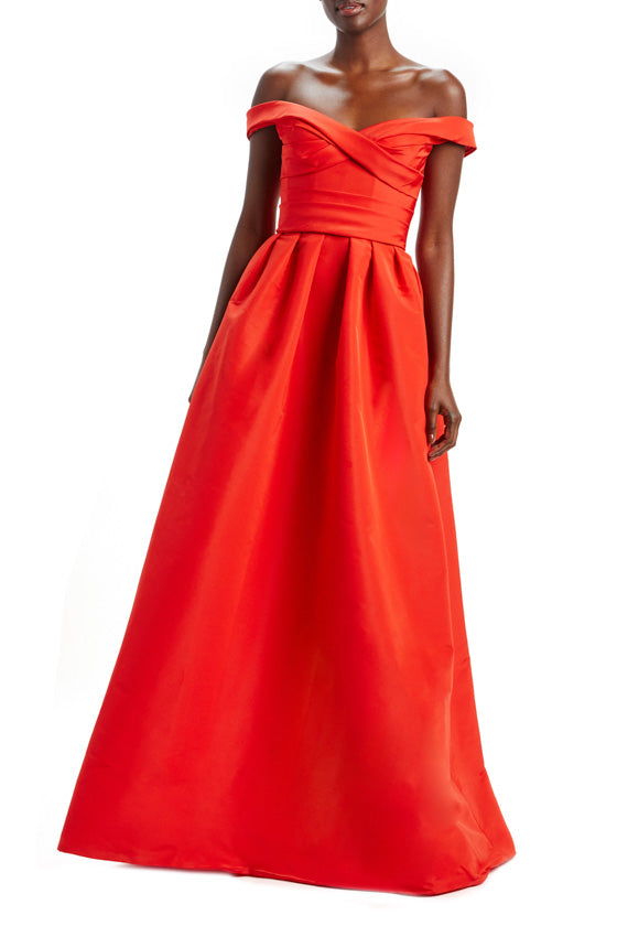 Off Shoulder Draped Bodice Gown