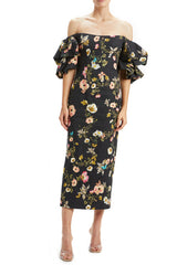 Signature Print Linen Column Dress