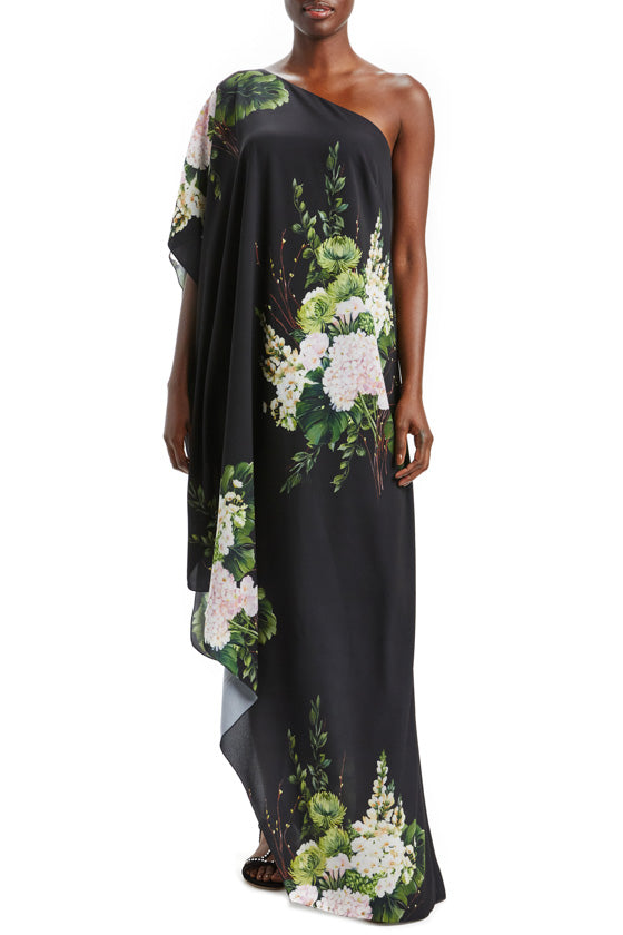 Bouquet One Shoulder Caftan Dress