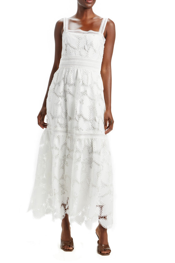 Guipure Lace Tiered Maxi Dress