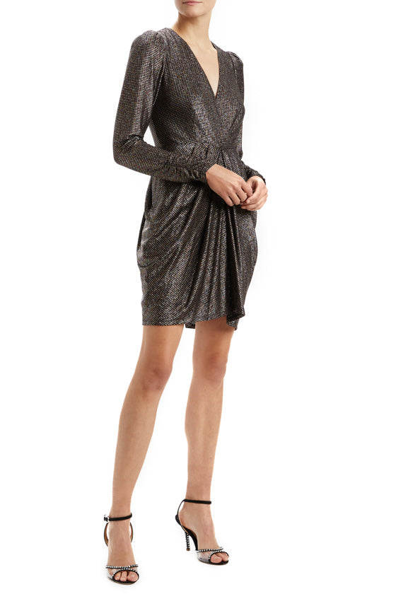 Metallic Knit Draped Dress