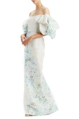 Off Shoulder Puff Sleeved Column Gown