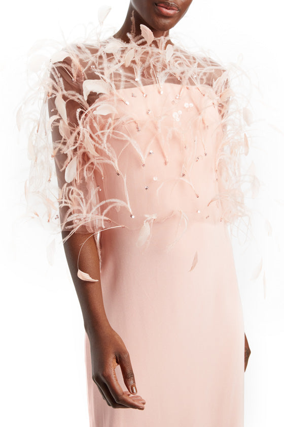 Feather Tulle Open Back Jacket