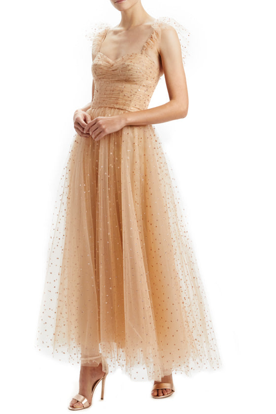 Star Ruffle Shoulder Tulle Dress