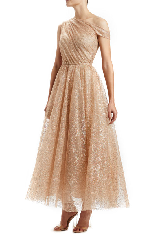 Champagne Asymmetrical Shoulder Dress