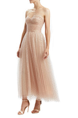 Rose Gold Dot Tulle Midi