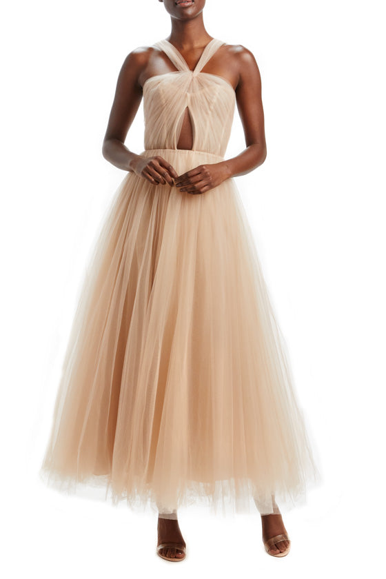 Cameo Draped Tulle Midi Dress