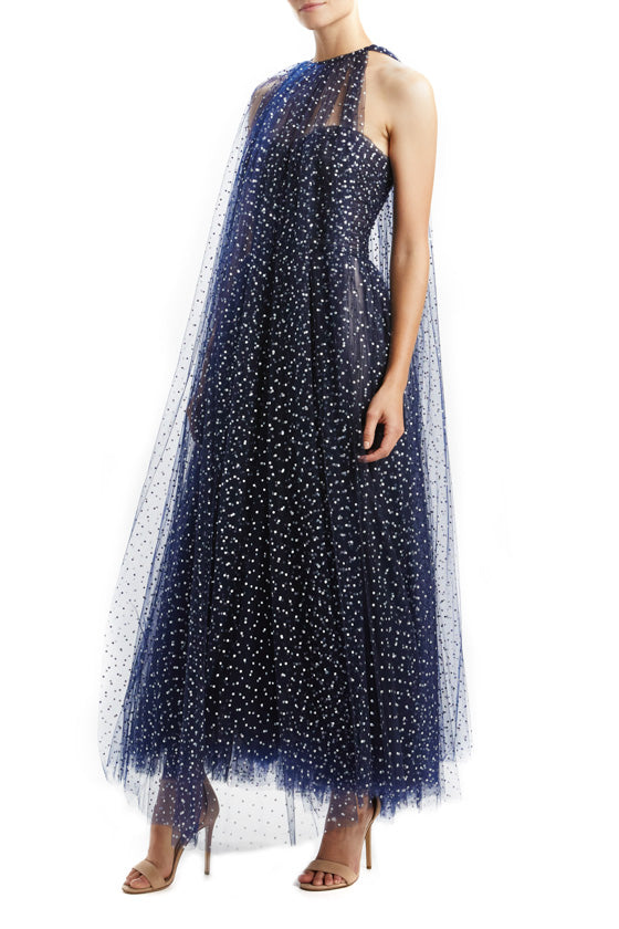Navy Dotted Tulle Cape