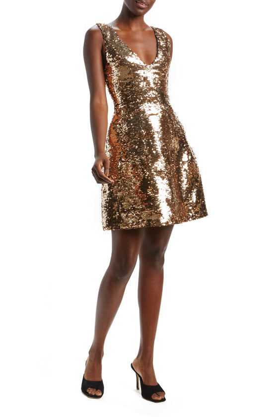 Sequin V-Neck Structured Dress