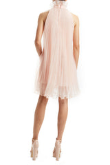 Pale Peach Pleated Trapeze Mini