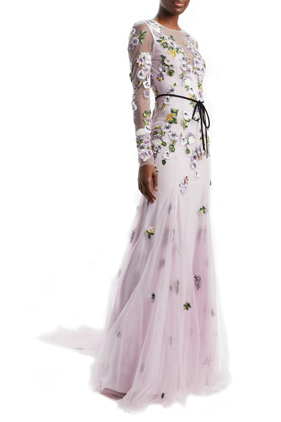 Long Sleeve Godet Gown