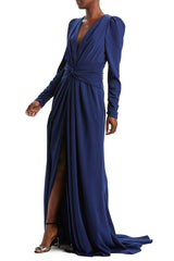 V-Neck Navy Evening Gown