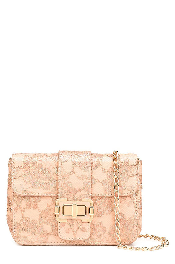 Blush lace and nappa leather shoulder bag