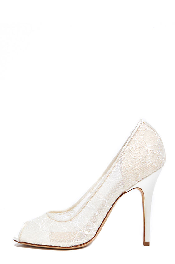 Adriana Lace Peep Toe Pump - monique lhuillier