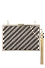 Lily Stripe Box Clutch - moniquelhuillier