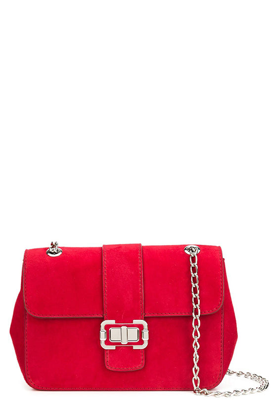 Cherry red suede front flap medium handbag