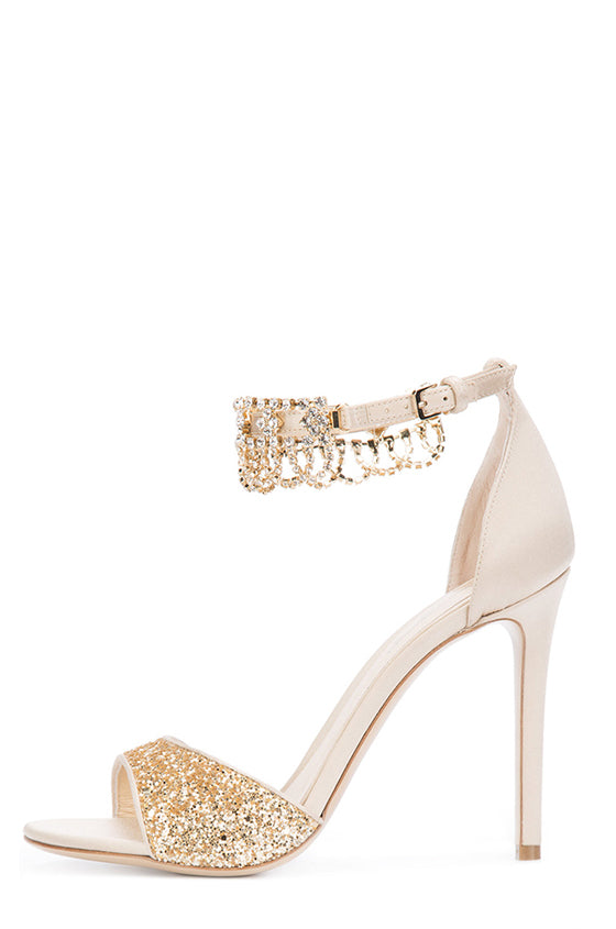 Evelyn Satin Embellished Sandal - moniquelhuillier