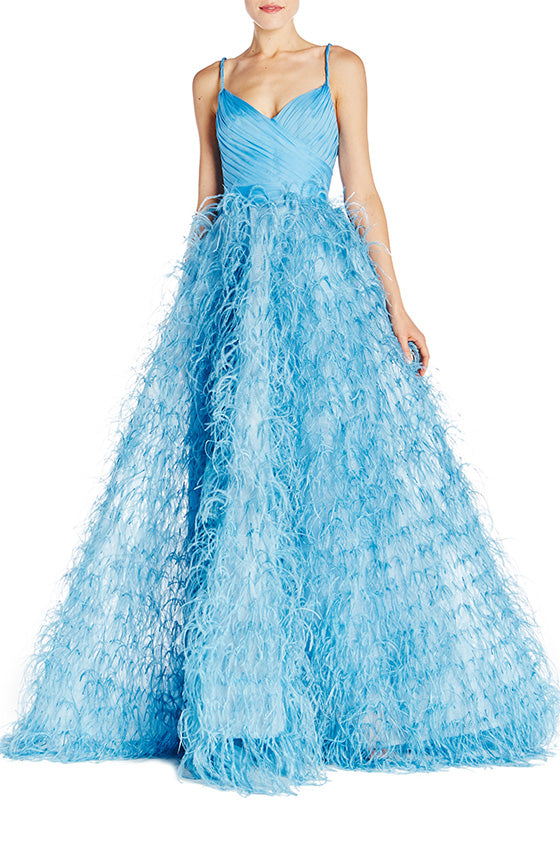 Draped Bodice Feather Gown - moniquelhuillier