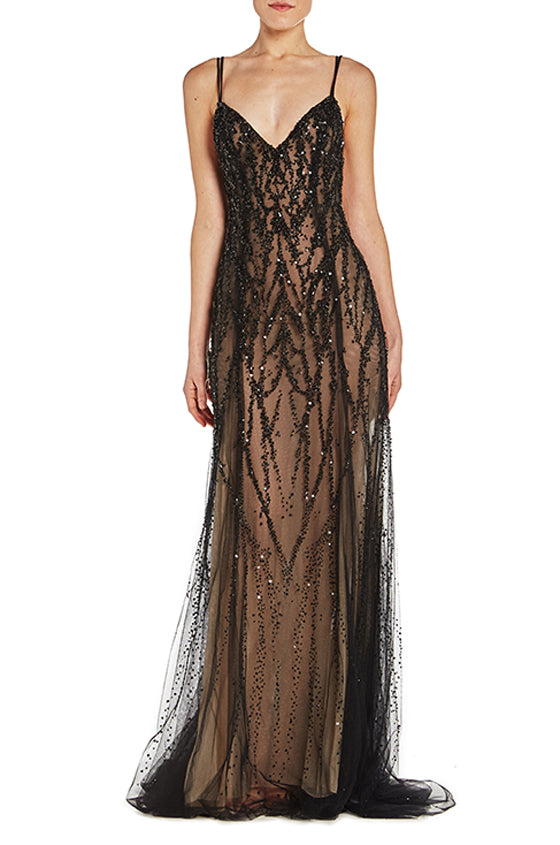 Noir embroidered v neck gown