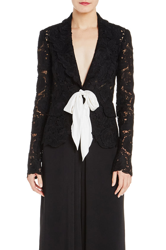 Lace Jacket With Silk Bow - moniquelhuillier