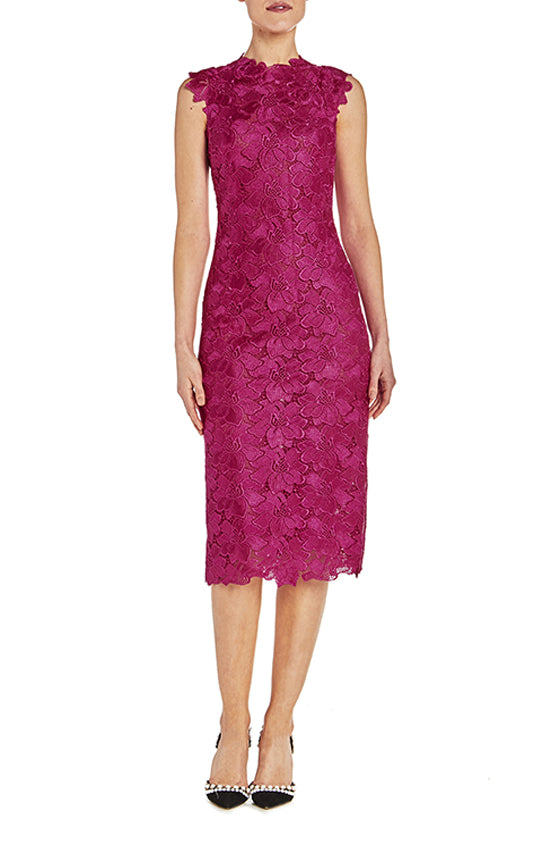 Floral Lace Sheath Dress - moniquelhuillier