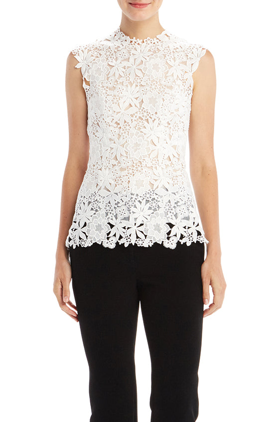 Guipure Lace Shell - moniquelhuillier