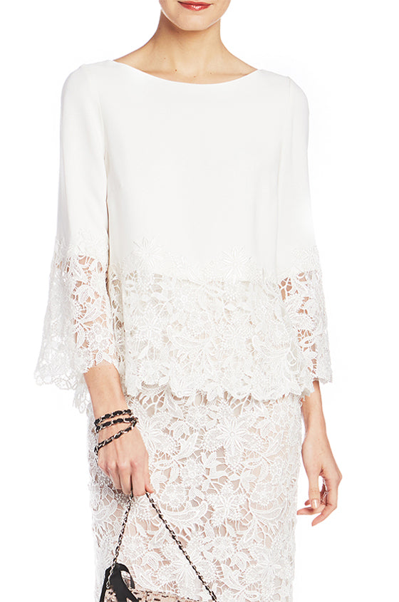3/4 Sleeve Crepe Top With Lace Trim - moniquelhuillier