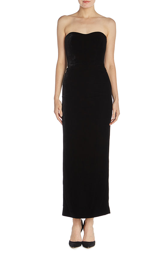 Strapless Column Velvet Dress - moniquelhuillier