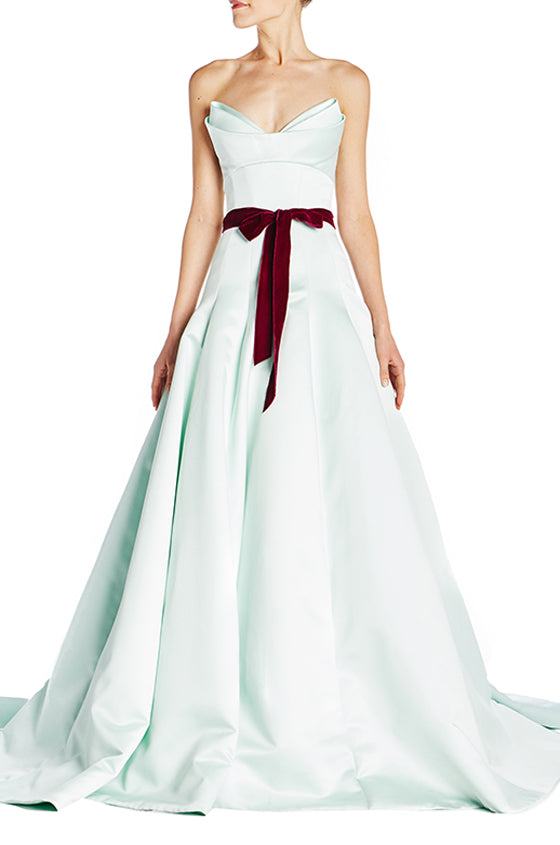 65d5a9f9 Strapless Structured Satin Gown